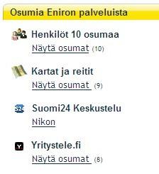 Osumia Eniron hakupalvelussa